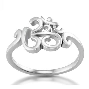 2017 New 925 silver OHM Hindu Buddhist AUM OM Ring Hinduism Yoga India Outdoor Sport Women/Men Ring Religious Symbol Jewelry
