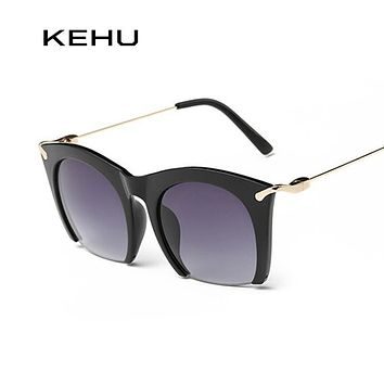 KEHU Brand half rim Sunglasses CAT EYE Sun shades lenses Half frame goggles Women Tinted Sun wear Black Party sunglass Metal