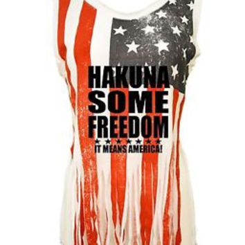 Women's Shredded Muscle Us Flag Tank Top Hakuna Some Freedom 4th Of July Shirt