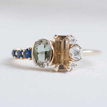Citrine, Sunstone, Diamond + Sapphire Cluster Engagement Ring | 14k Recycled Gold | Limited Edition