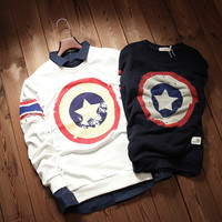 Captain America Print Long Sleeve Sweat Shirt