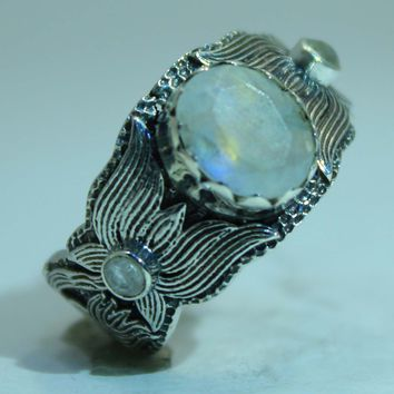Beautifully Detailed Sterling Silver Moonstone Lotus Flower ring