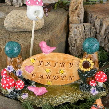 Fairy Garden SIGN  w hidden gnome door in back  - Miniature Handmade red Mushrooms Bird house Glazed Ceramic & tiny birds