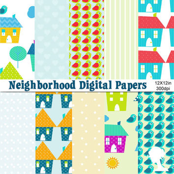 Digital Papers: Neighborhood with Houses, Trees, Cloud, Birds and Sun in Bright Colors and Patterns
