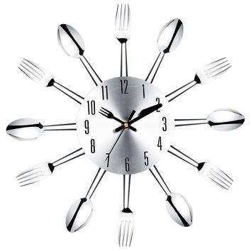 Brief Modern Large Wall Clock Stainless Steel Wall Watch Magic Spoon Fork Quartz Needle 3D Clock Living Room Home Decor Z30