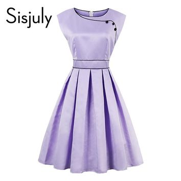 Sisjuly Vintage Dresses 1950s  Party Women Clothing Retro O-Neck Knee-Length Summer Lady Sleeveless A-Line Dresses Comfortable