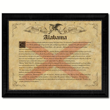 Alabama Vintage History Flag Canvas Print, Picture Frame Gift Ideas Home Décor Wall Art Decoration