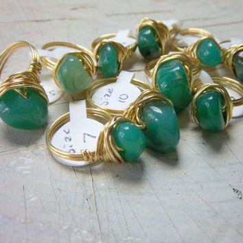 Wire Wrapped Green Agate Gemstone Rings