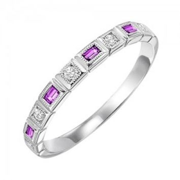 10k white gold diamond and emerald cut ruby birthstone ring