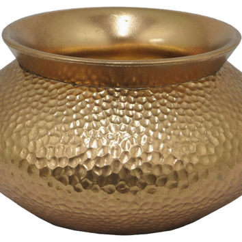 "11"" Oval Hammered Planter, Gold, Outdoor Urns, Planters & Jardinieres"