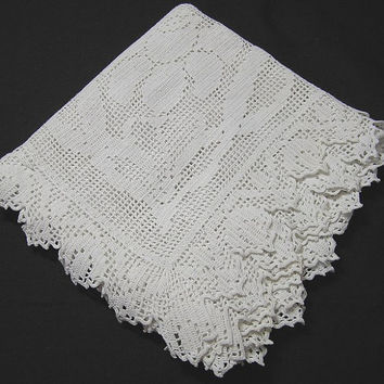 Square White Tablecloth with Daffodil Filet Lace Corners and Trim, Handkerchief Linen, 35 Inches Square, ~~by Victorian Wardrobe