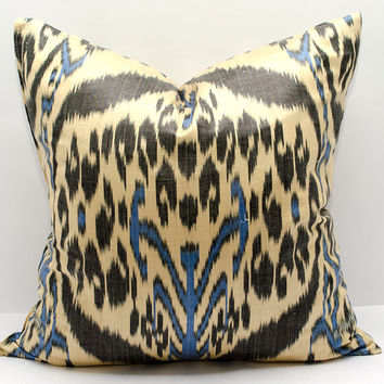 20 x 20 ikat pillow cover, Ikat Pillow, black, blue, cream, ikat, 20x20 Pillows, Pillowcases, ikat cushion, Home Decor, interior pillows