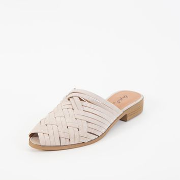 Strappy Woven Slide, Oatmeal