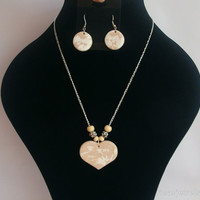 Milk and beige heart pendant and earrings on a chain, for girls, teens and young women