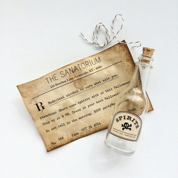 Halloween Party Invitation, 1920s Prohibition Party, Flapper Party, Speakeasy Party, Alcohol Prescription Message in a Bottle Invitation