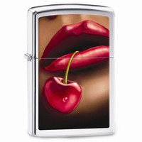 Zippo Lips And Cherries High Polish Chrome Lighter