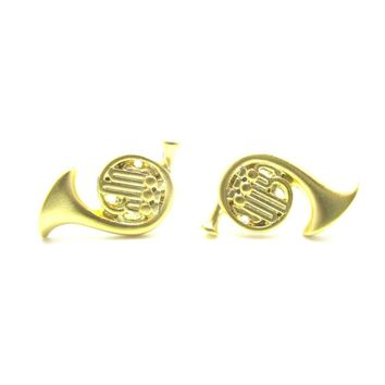 Tiny French Horn Shaped Stud Earrings in Gold | Music Themed Jewelry