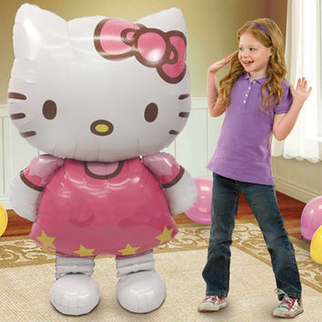 Large Size 116*65cm Cartoon Hello Kitty Cat Inflatable Helium Ballons Foil Balloons Birthday Party Decoration Supplies Kids Toys