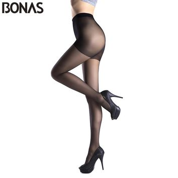 BONAS Spring Sexy Nylon Breathable Tights Women Fashion Cotton Lady Pantyhose Female Skin Color Lolita Style Hosiery Stockings