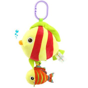 Happy Monkey Baby Melody Music Animal Toys Strollers Hanging Cartoon Octopus Fish Turtle Bell Kids Appease Toys wholesale