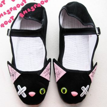 Stitched Zombie Kitty Mary Jane Shoes - (Sizes 5, 6, 7, 8, 9, 10 and 11)
