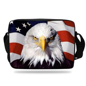 Boys bookbag trendy 2018 New Style Boys Messenger bag birds Animal Eagle School Bag For Girls Shoulder Bag Hawk  Men Trave bag Women AT_51_3