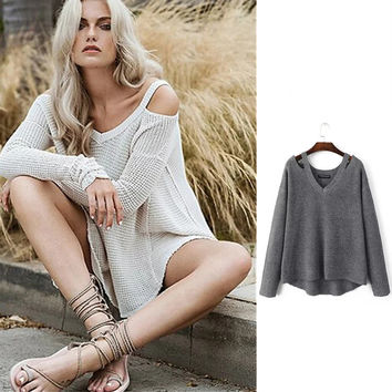 Pullover Knit Tops Sweater Winter Women's Fashion V-neck Strapless Bottoming Shirt [8398299841]