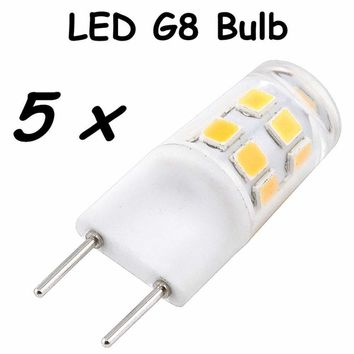 G8 LED Light Bulb 2W Bi-Pin G8 Base Led Crystal Lamp Replace 20W Halogen G8 for Chandelier Crystal Ceiling Fan Kitchen Lighting