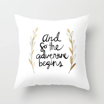 The Adventure Begins Throw Pillow by Tangerine-Tane