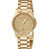 Gucci Swiss Quartz and Stainless-Steel Dress Gold-Toned Women's Watch(Model: YA126553)