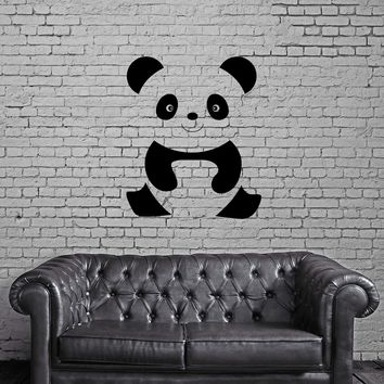 Wall Decal Animal Cheerful Baby Panda Cartoon Kids Room Vinyl Stickers Unique Gift (ed444)