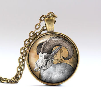 Goat skull pendant Antique necklace Gothic jewelry SNW3