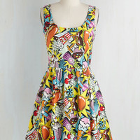 Quirky Mid-length Sleeveless Fit & Flare Good Enough to Eat Dress