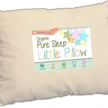 Toddler Pillow Soft Organic Cotton 200 Thread Count, Delicate Fill for Safe Neck Support in Kids Age 2-5, Great for Travel, Nap, Day Care, Baby Crib or Toddler Bed, 13x19 Made in USA by Dreamtown Kids