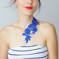 NECKLACE // Lasata // Royal Blue Necklace/ Lace Necklace/ Statement Necklace/ Lace Fashion/ Floral Necklace/ Going Out Jewelry/Women Fashion
