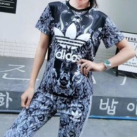 """Adidas"" Women Casual Fashion Retro Letter Phoenix Print Stripe Short Sleeve Trousers Set Two-Piece Sportswear"