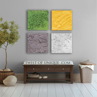 Concrete Abstract Painting / CUSTOM 4 square ( 15 Inch x 15Inch) / abstract Wall Art / concrete / AcryliCrete/ White, Green, Yellow, Gray