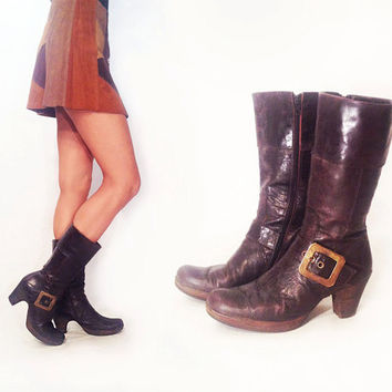 Vintage 1960's 1960's Leather Platform Brass Buckle Strap Burgundy Brown Boots || Size 39 / Size 8 to 8.5