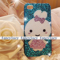 iphone 4 case - Cute iPhone 4 Case - Adorable Rabbit Bunny Girl iPhone 4 Case - Best iPhone 4 case - bling crystal iphone 4g 4s case