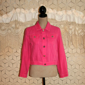 Hot Pink Crop Jacket Linen Jacket Western Boho Grunge Light Jacket Pink Jacket Women Spring Clothing Size 6/8 Medium Small Womens Clothing