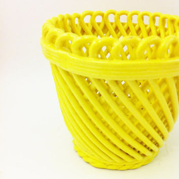 Vintage Yellow Italy Art Pottery Planter, Lattice Planter Italy , Italian Glazed Planter