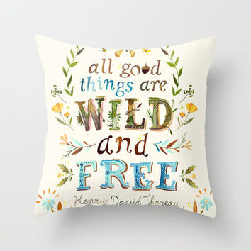 Wild & Free Throw Pillow by Katie Daisy