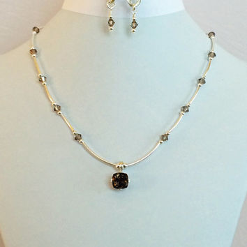 Square Faceted Brown Smoky Quartz Pendant Necklace with Light Smoky Swarovski Crystals and Sterling Silver Tube Beads -- Product N089
