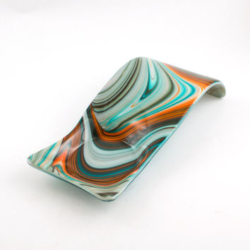 Unique Fused Glass Spoon Rest, Modern Design, Pillar Candle Holder, Southwestern Decor, Countertop Display, Spoonrest, Glass Spoon Holder