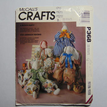 McCall's Craft Sewing Pattern P368 A Block Party with Animals Dolls and Clothes