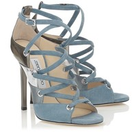 Blue Grey Mix Suede, Satin and Mirror Leather Sandals | Linger | Autumn Winter 14 | JIMMY CHOO Shoes