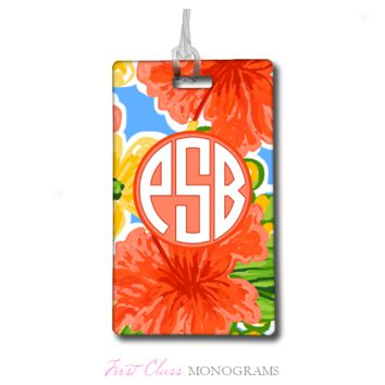 Tracey Gurley Coral Hibiscus Monogram Luggage Tag