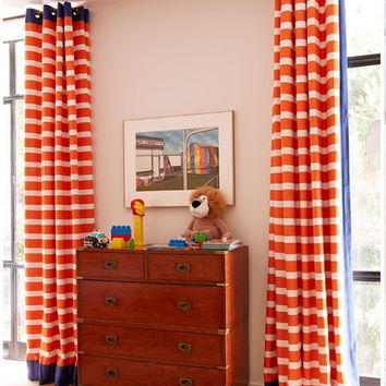 "Two designer curtain panels, grommet drapes, horizontal 3"" stripe, orange, white  blue cotton"