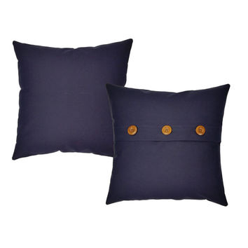Set of 2 Navy Blue Cotton Canvas Pillow Covers and or Cushions - Available in 14x14, 16x16, 18x18 and 20x20 inches
