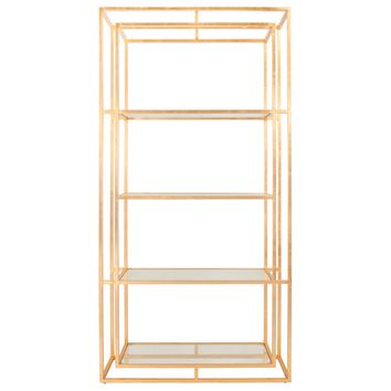 Worlds Away Fletcher Gold Leaf Etagere
